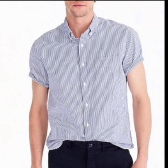 J. Crew Seersucker Short Sleeve Button Front Shirt